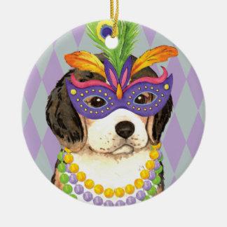 Mardi Gras Beagle Ceramic Ornament