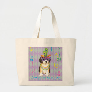 Mardi Gras Beagle Large Tote Bag