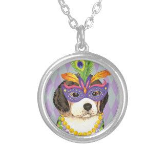 Mardi Gras Beagle Silver Plated Necklace