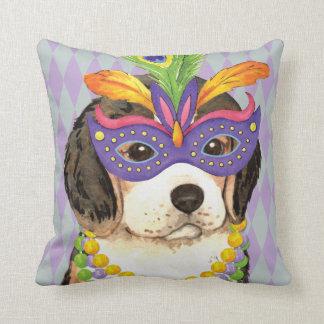 Mardi Gras Beagle Throw Pillow