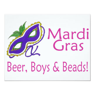Mardi Gras Beer Boys Beads 4.25x5.5 Paper Invitation Card