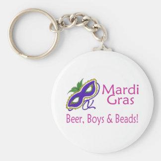 Mardi Gras Beer Boys Beads Keychain