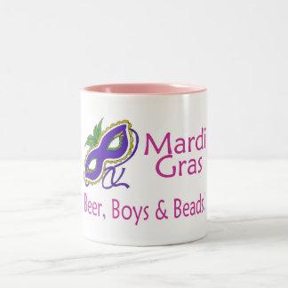 Mardi Gras Beer Boys Beads Two-Tone Coffee Mug