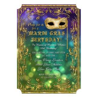 Mardi Gras Birthday Masquerade Mask Bokeh Gold 5x7 Paper Invitation Card