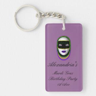 """Mardi Gras Birthday Party"" - Beaded Mask (1) Single-Sided Rectangular Acrylic Keychain"