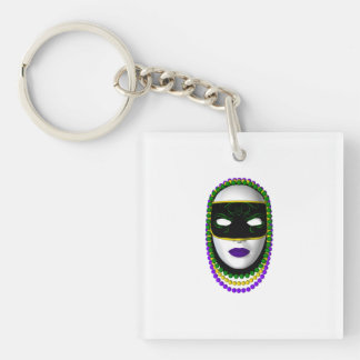 """Mardi Gras Birthday Party"" - Beaded Mask (2) Double-Sided Square Acrylic Keychain"