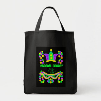 Mardi Gras Black Bag with Mask, Beads and Crown