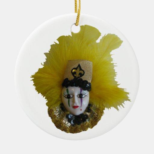 Mardi Gras Black & Geauld 2 Christmas Ornaments