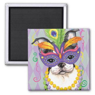 Mardi Gras Boston Terrier 2 Inch Square Magnet
