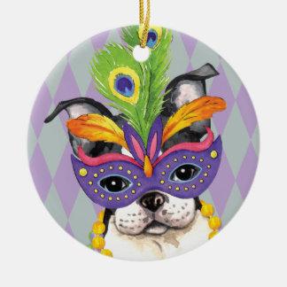 Mardi Gras Boston Terrier Ceramic Ornament