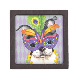 Mardi Gras Boston Terrier Jewelry Box
