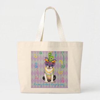 Mardi Gras Boston Terrier Large Tote Bag