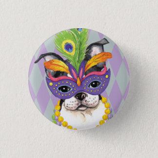 Mardi Gras Boston Terrier Pinback Button