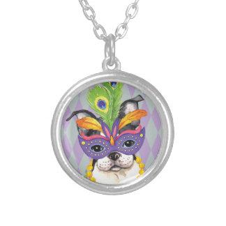 Mardi Gras Boston Terrier Round Pendant Necklace