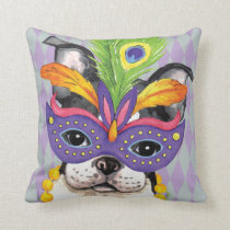Mardi Gras Boston Terrier Throw Pillow