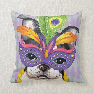 Mardi Gras Boston Terrier Throw Pillow
