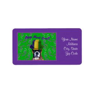 Mardi Gras Boxer Address labels
