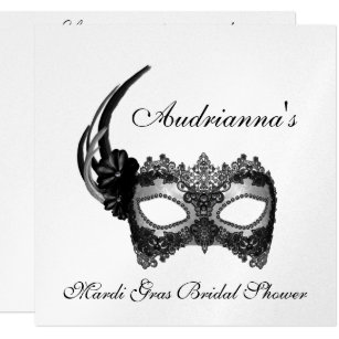 mardi gras bridal shower invitation