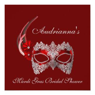 """""""Mardi Gras Bridal Shower"""" 5.25x5.25 Square Paper Invitation Card"""
