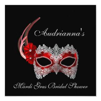 """""""Mardi Gras Bridal Shower"""" - Mask w/ Lace 5.25x5.25 Square Paper Invitation Card"""