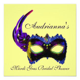 """""""Mardi Gras Bridal Shower""""-Multiple Neon Colors[b] 5.25x5.25 Square Paper Invitation Card"""