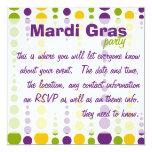 Mardi Gras Bubble Dots 5.25x5.25 Square Paper Invitation Card