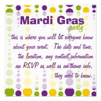 Mardi Gras Bubble Dots Personalized Invitation