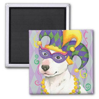 Mardi Gras Bull Terrier 2 Inch Square Magnet