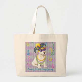 Mardi Gras Bull Terrier Large Tote Bag