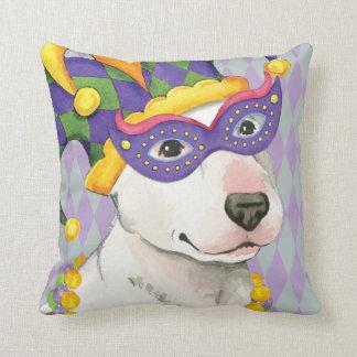 Mardi Gras Bull Terrier Pillow