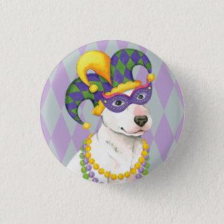 Mardi Gras Bull Terrier Pinback Button