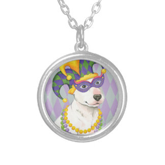 Mardi Gras Bull Terrier Silver Plated Necklace