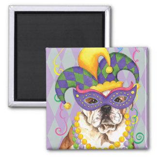 Mardi Gras Bulldog 2 Inch Square Magnet