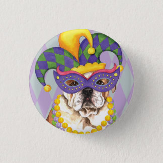 Mardi Gras Bulldog Button