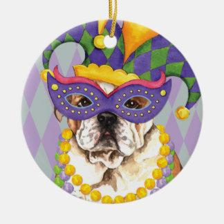 Mardi Gras Bulldog Ceramic Ornament