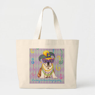 Mardi Gras Bulldog Large Tote Bag