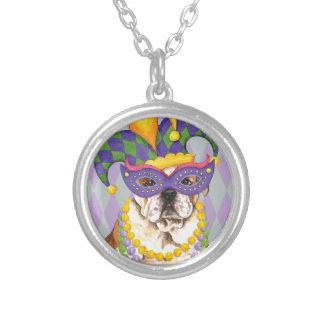 Mardi Gras Bulldog Round Pendant Necklace