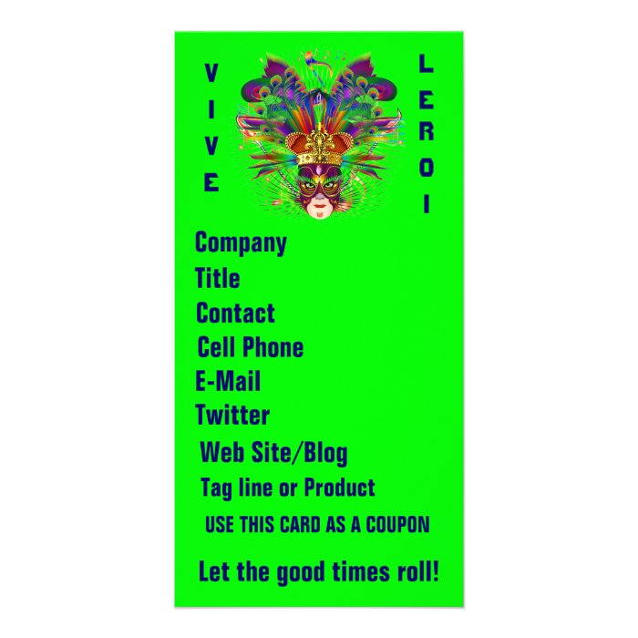 Mardi Gras Business Theme Vert Please View Notes Card