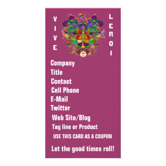 Mardi Gras Business Theme Vert Please View Notes Personalized Photo Card