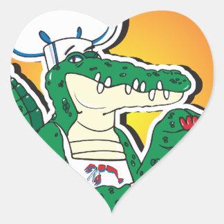 Mardi Gras Cajun Crocodile Heart Stickers