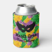 Mardi Gras Camouflage Mask Can Cooler