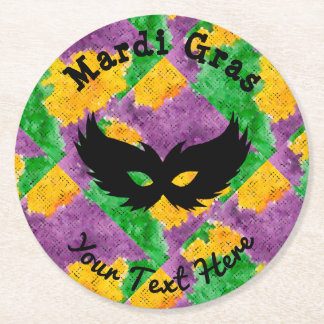 Mardi Gras Camouflage Mask Round Paper Coaster