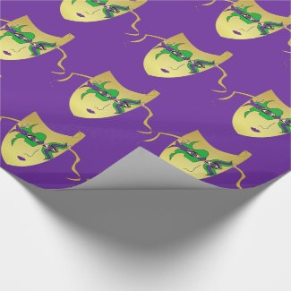Mardi Gras Carnival Gold Mask On Purple Wrapping Paper