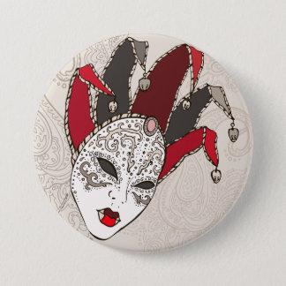 Mardi Gras Carnival Mask Button
