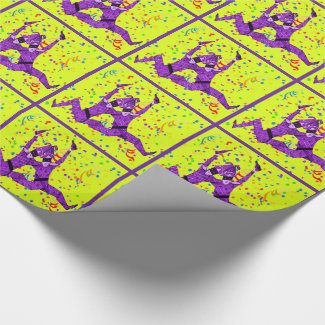Mardi Gras Carnival Purple Jesters With Confetti Wrapping Paper