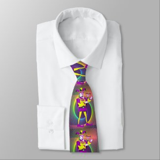 Mardi Gras Carnival  Purple Yellow Jester Neck Tie