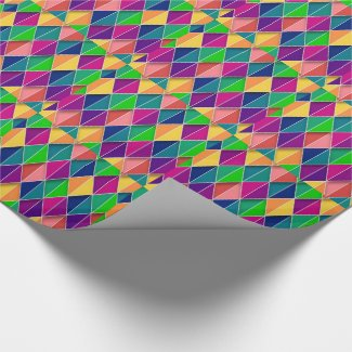 Mardi Gras Carnival Yellow Purple Green Diamonds Wrapping Paper