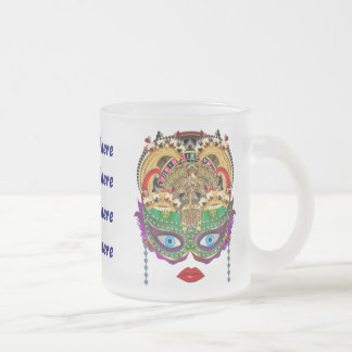 Mardi Gras Casino Queen 2 Plse View Artist Comment Frosted Glass Coffee Mug