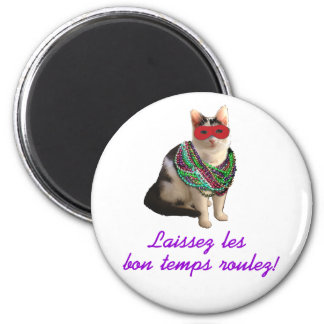 Mardi Gras Cat 2 Inch Round Magnet