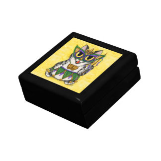 Mardi Gras Cat Party New Orleans Mask Art Gift Box